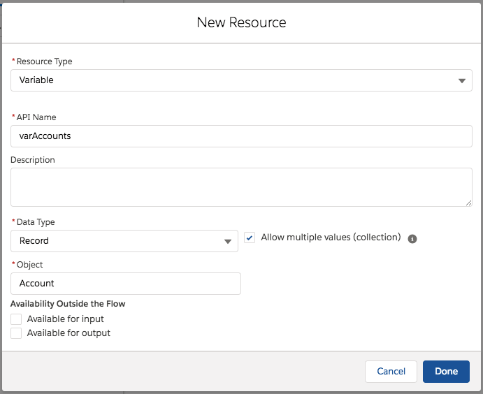 The New Resource modal with the Allow multiple values (collection) checkbox selected