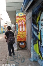 This alley was full of colorful graffiti.