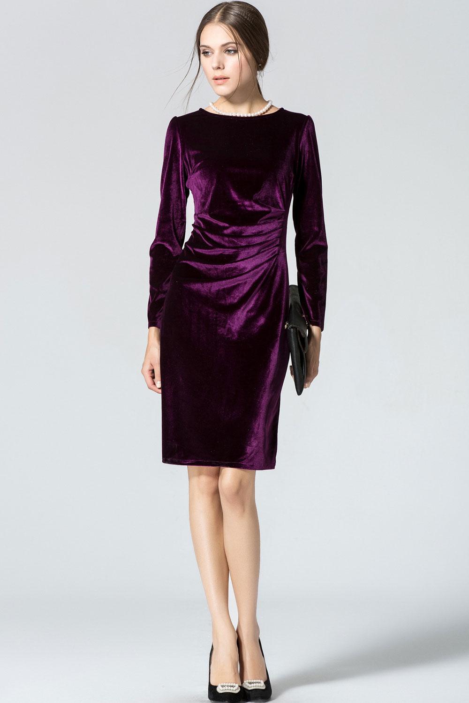 WOMENS LONG SLEEVED ROUNDNECK SLIM VELVET PLEATED WINTER DRESS PURPLE  Unomatch Shop