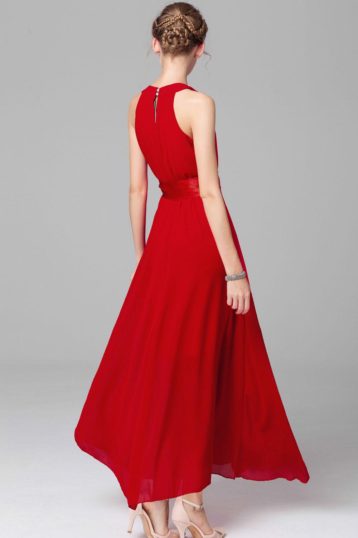 WOMENS CHIFFON SLEEVELESS PROM DRESS RED – Unomatch Shop