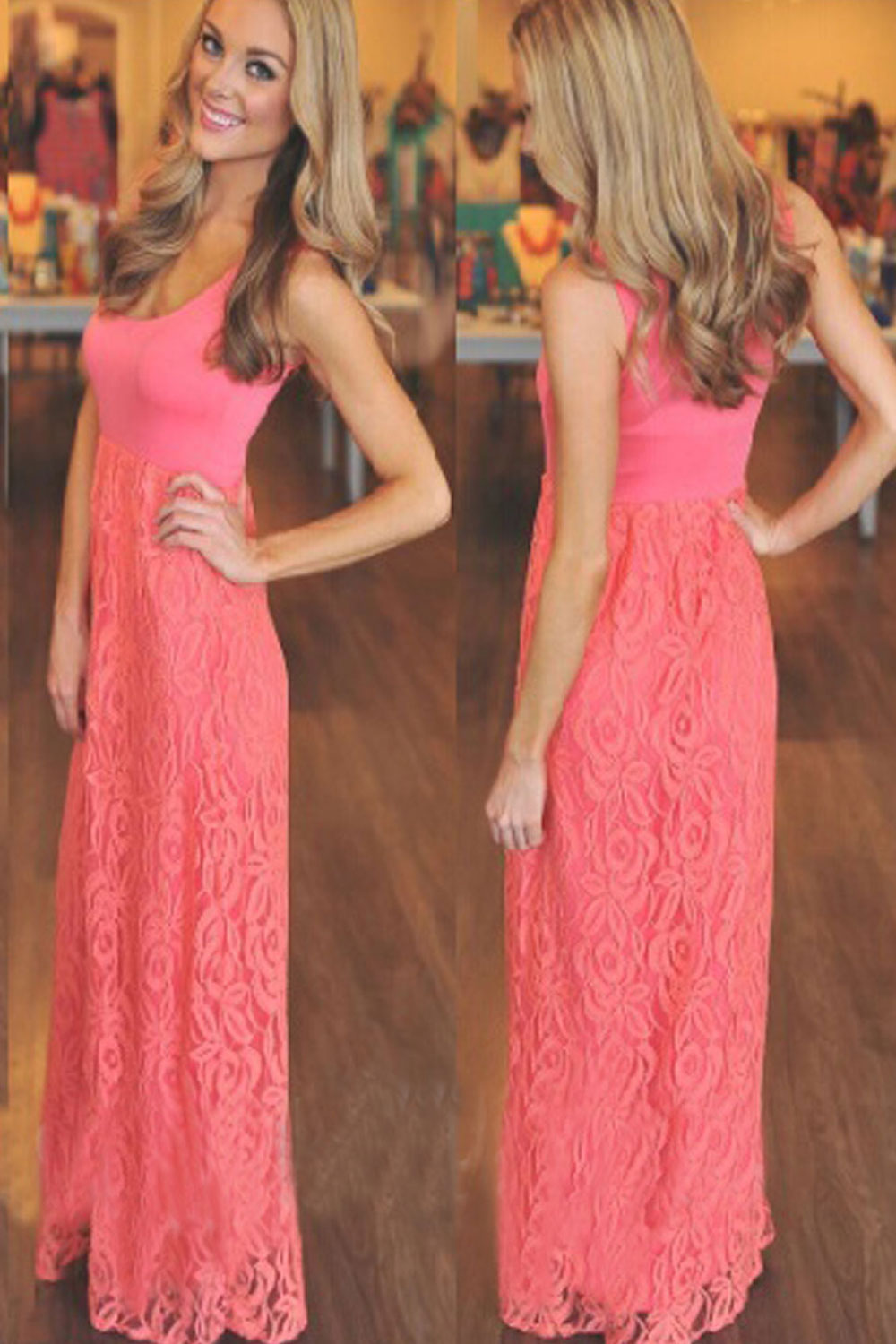 WOMENS SLEEVELESS FLOOR LENGTH LACE PARTY DRESS PINK