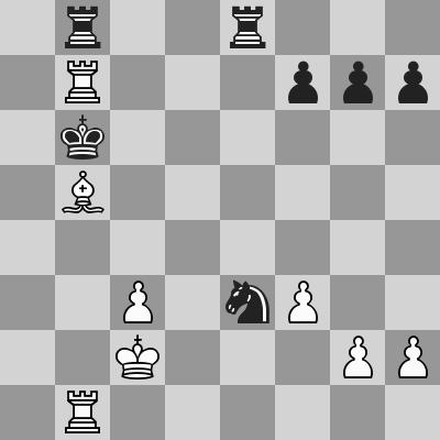 Carlsen-Inarkiev dopo 27. ... Ce3+