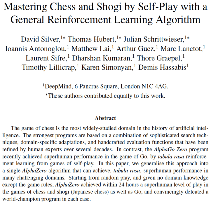 Mastering Chess and Shogi by Self-Play with a General Reinforcement Learning Algorithm
