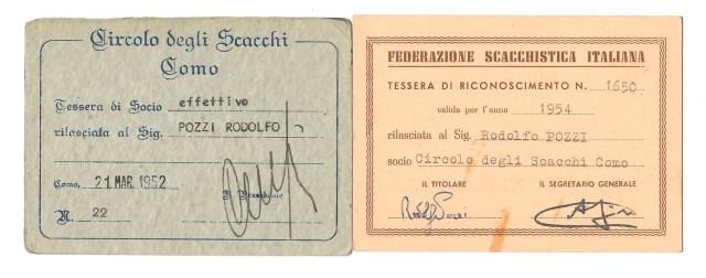 TESSERE 1952 e 1954