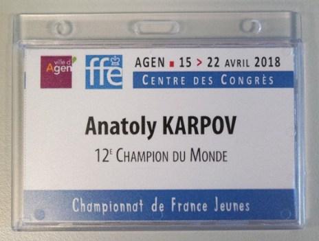Campionato giovanile francese 2018 - il badge di Karpov