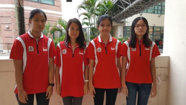 Singapore female team - Hng Mei-Xian Emmanuelle, Gong Qianyun, Siew Kai Xin, Tin Ruiqi.