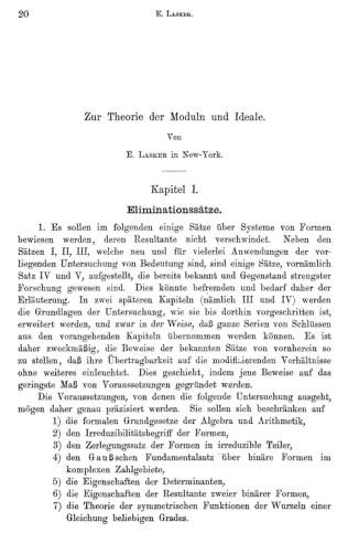 """Lasker, E. (1905), """"Zur Theorie der Moduln und Ideale"""", Math. Ann., 60; 19–116"""
