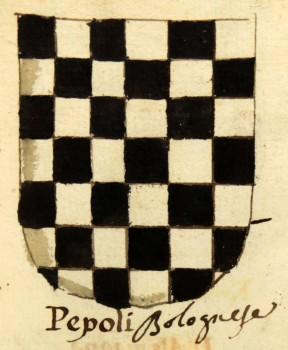 Stemma della famiglia Pepoli: Scaccato d'argento e di nero di sette file