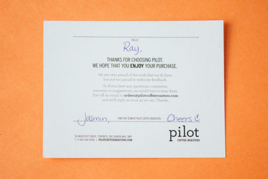 Pilot's personalized cards with detailed instructions for a pour-over.