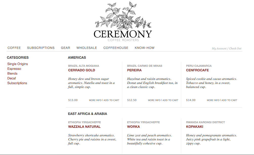 A Screen Shot of Ceremony's Website