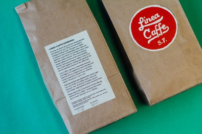 Front and back designs of Linea Caffe Coffee bag.