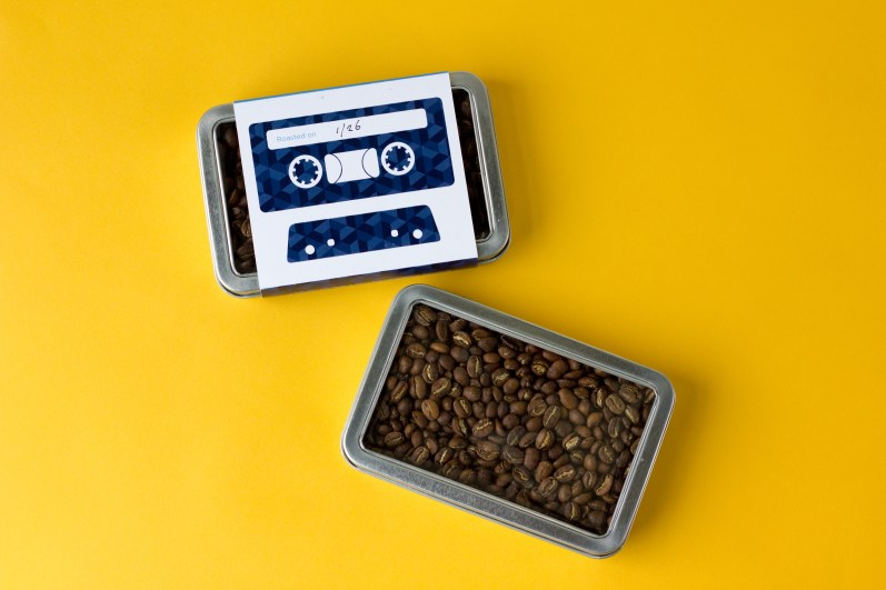Huckleberry Roasters' cassette tape packaging tins