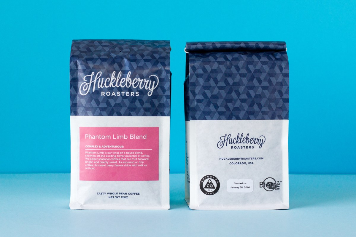 Front and back view of Huckleberry Roasters' package design