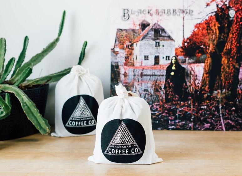 Abracadabra Coffee Co Packaging and Black Sabbath Album
