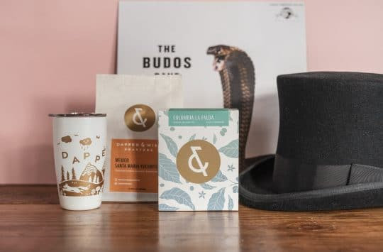 Dapper & Wise coffee tumbler, coffee bag and top hat