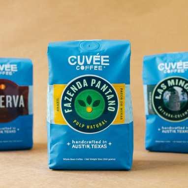Cuvée Coffee Fazenda Pantano coffee on orange backgound