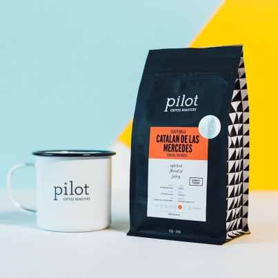 Pilot Coffee Roasters Guatemala Catalan De Las Mercedes coffee with Pilot mug