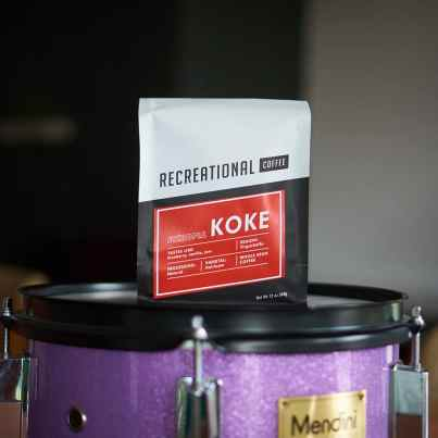 Recreational Coffee Ethiopia Koke coffee on purple drum