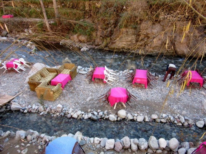 High Atlas riverside restaurant