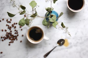 cups of coffee with beans