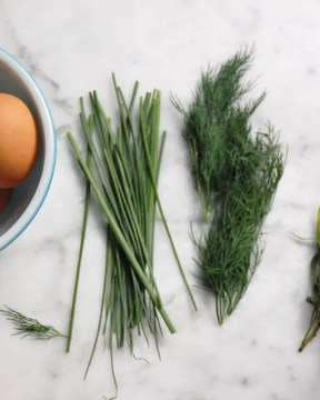Brown Eggs With Fresh Herbs