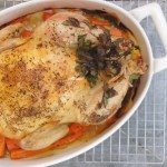 whole roast chicken with carrots