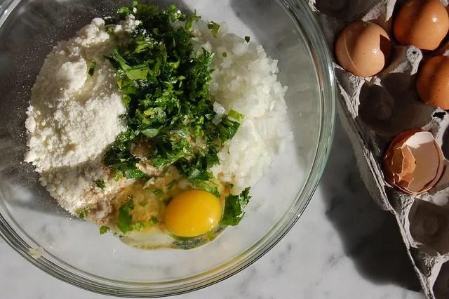 meatball ingredients in bowl