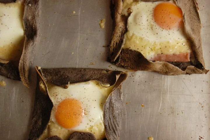 french buckwheat galettes with egg on sheet pan