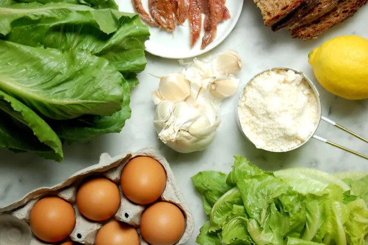 salad ingredients egg bread anchovies garlic lettuce cheese
