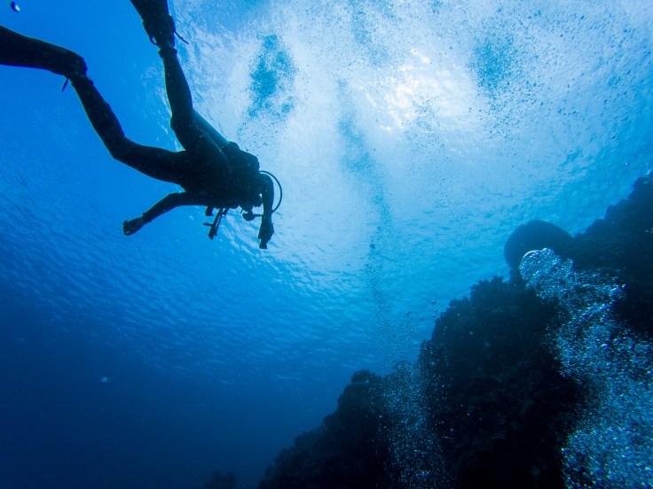 vue dessous plongeur bulles
