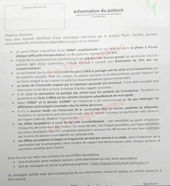 La fiche d'information sur le vaccin Pfizer distribuée au centre de vaccination de Quimper.