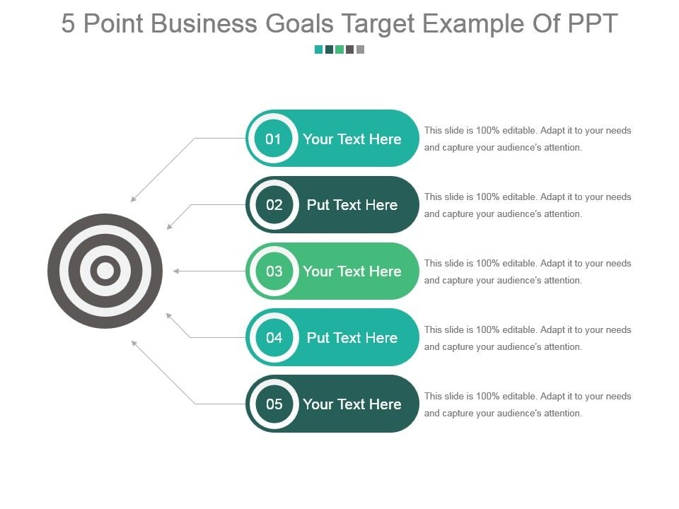 5 point business goals target example of ppt powerpoint