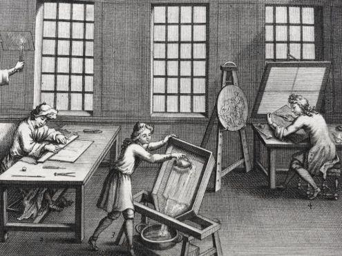 Louis Simonneau, L'atelier du graveur en taille douce, 1696, eau-forte et burin, Paris, Bibliothèque nationale. © Damien Tellas