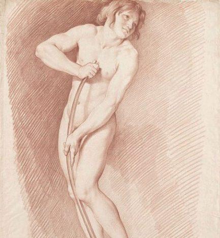 Edme Bouchardon, Modèle pour L'Amour se faisant un arc de la massue d'Hercule, sanguine, Paris, musée du Louvre. © RMN - Grand Palais (Musée du Louvre) / Thierry Le Mage.
