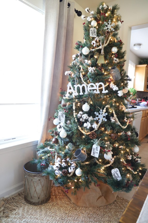 Farmhouse Christmas Tree with cotton, pine cones, galvanized metal accents, mason jars and southern sayings