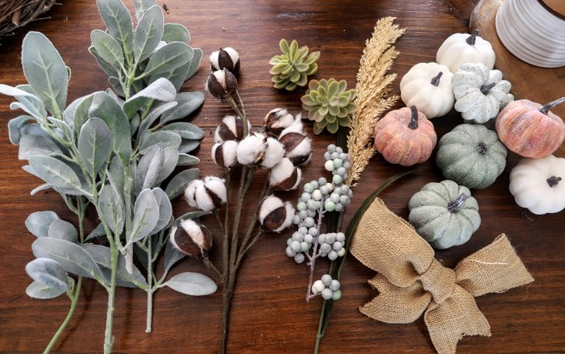 materials needed for a vintage Autumn wreath