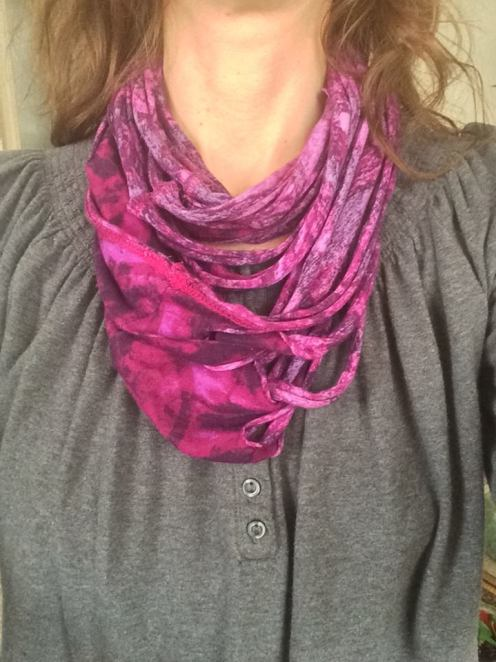 DIY repurposed spaghetti scarf