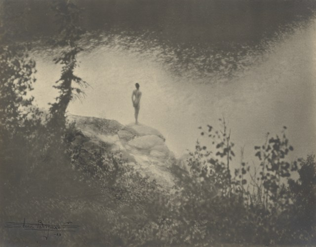 Female Nude Standing on Large Rock Over a Lake, 1923