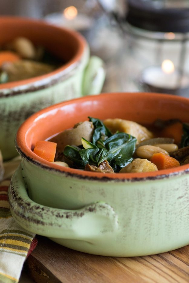 Vegan Chik'n Soup with Greens and Sweet Potato Gnocchi Soup by An Unrefined Vegan
