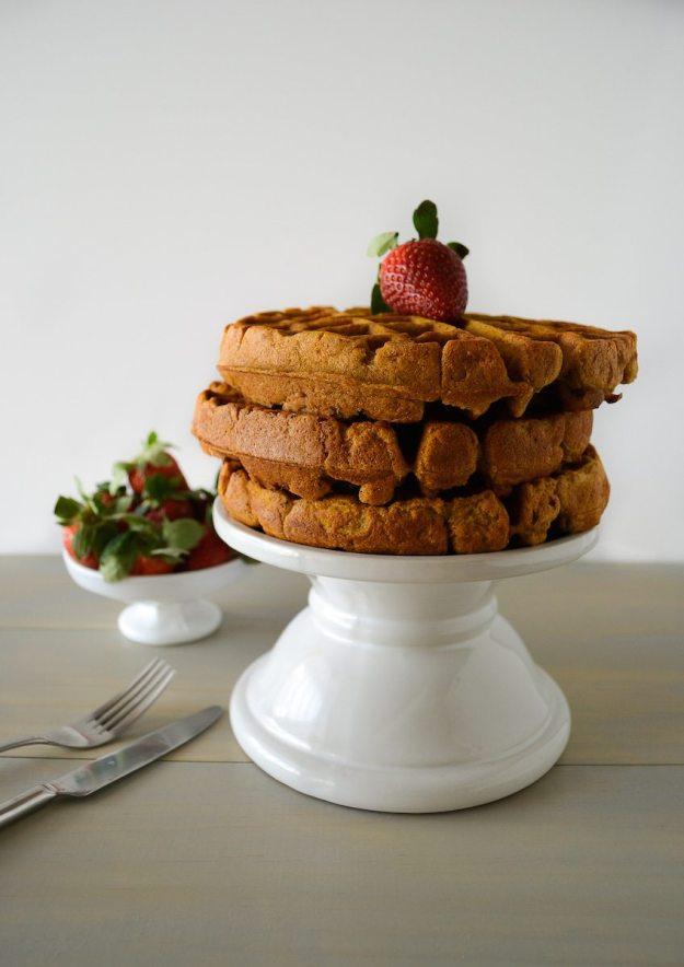 Vegan Gluten-free Sugar-free Pumpkin Apple Pecan Pie Waffles by An Unrefined Vegan