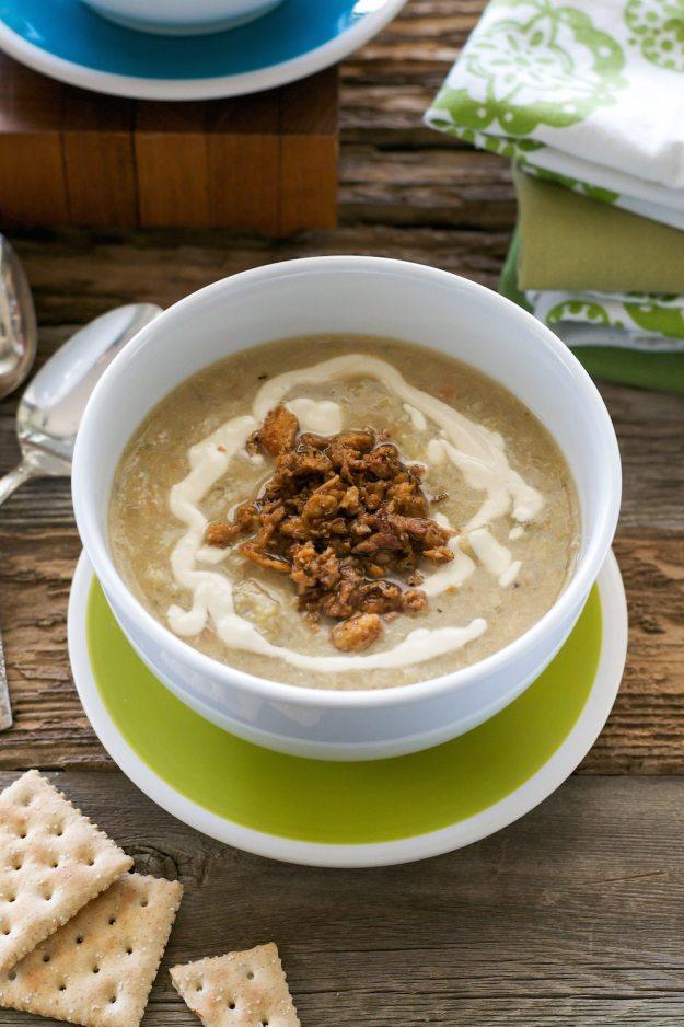 Slow Cooker Vegan Stuffed Artichoke Soup by An Unrefined Vegan