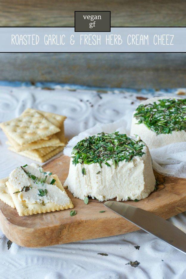 Vegan, Gluten-free Roasted Garlic and Fresh Herb Cream Cheez by An Unrefined Vegan