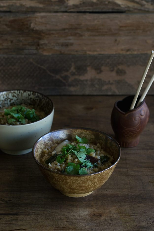 Vegan Congee with Shiitake Mushrooms by An Unrefined Vegan