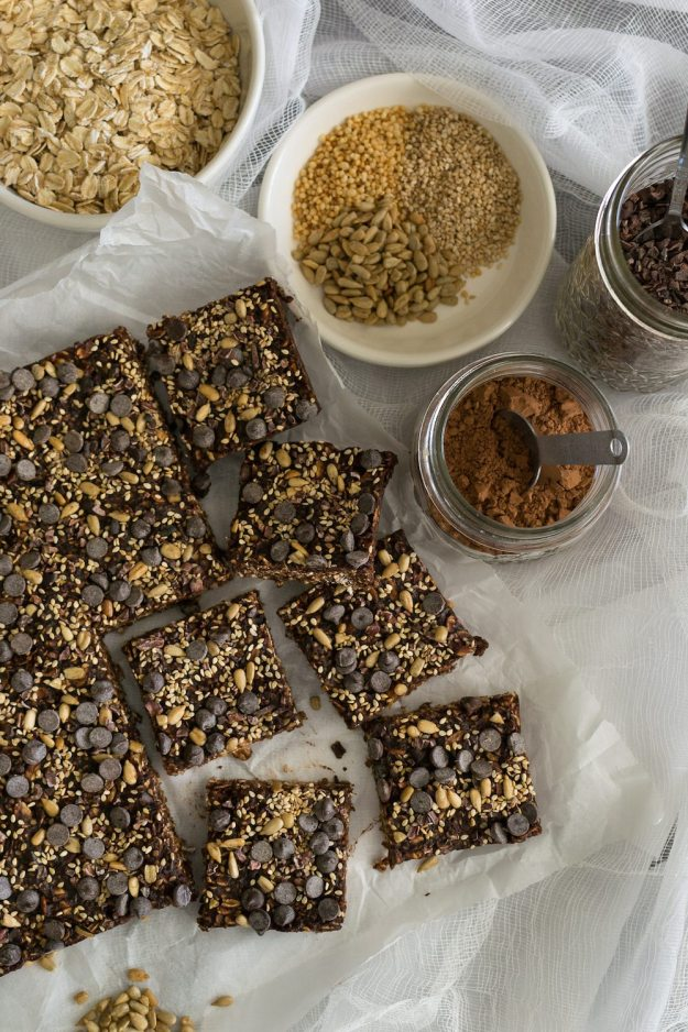 Vegan Almond Butter Chocolate Oat & Seed Squares by An Unrefined Vegan