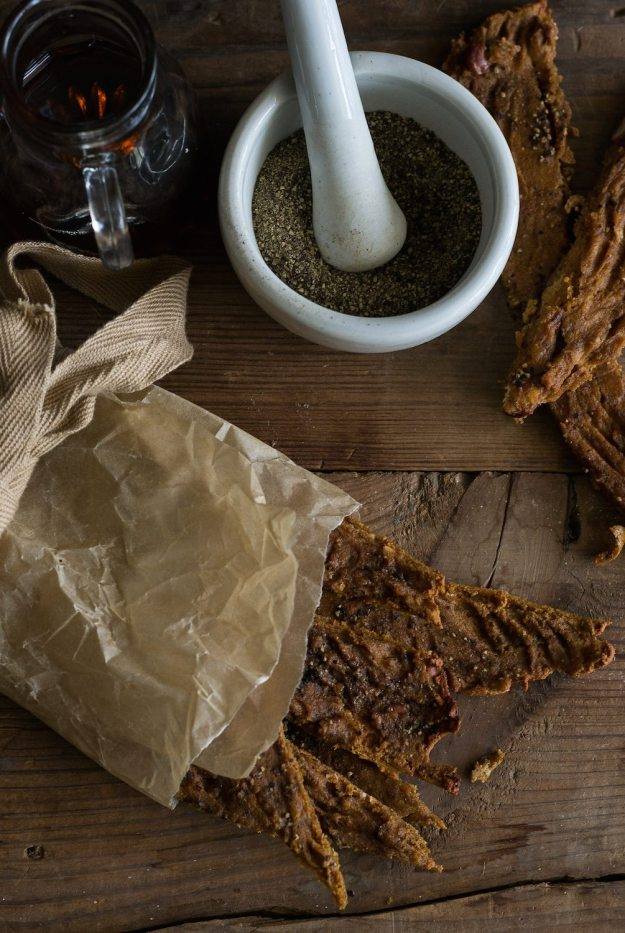 Vegan Maple Black Pepper Tofu Jerky by An Unrefined Vegan