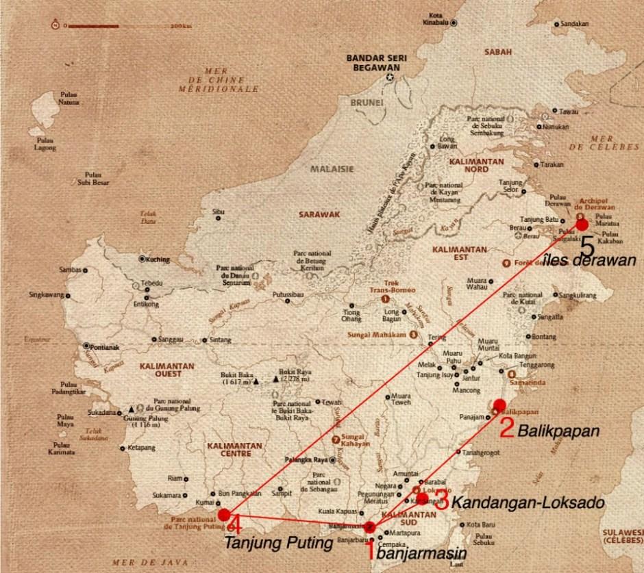carte Bornéo