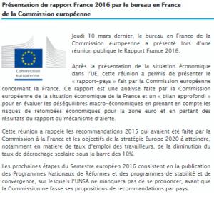 Présentation du rapport France 2016