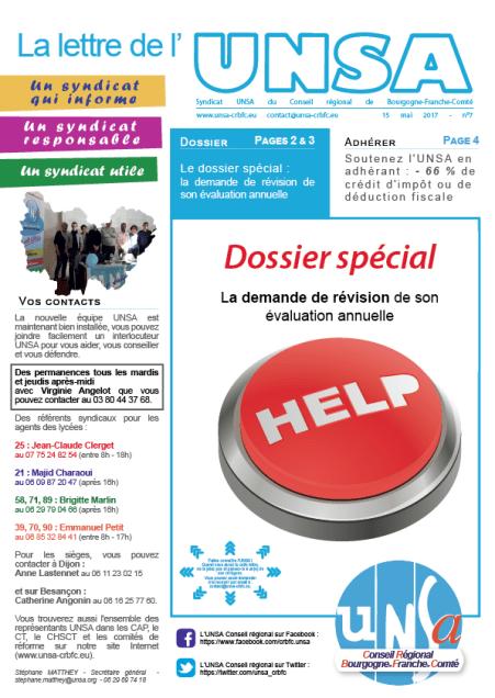 07 Journal UNSA 15 mail 2017 - spécial demande de révision et recours-01