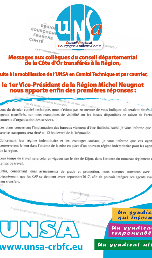 Michel Neugnot écrit à l' l'UNSA situation des agents du CD21 mai 2017-01
