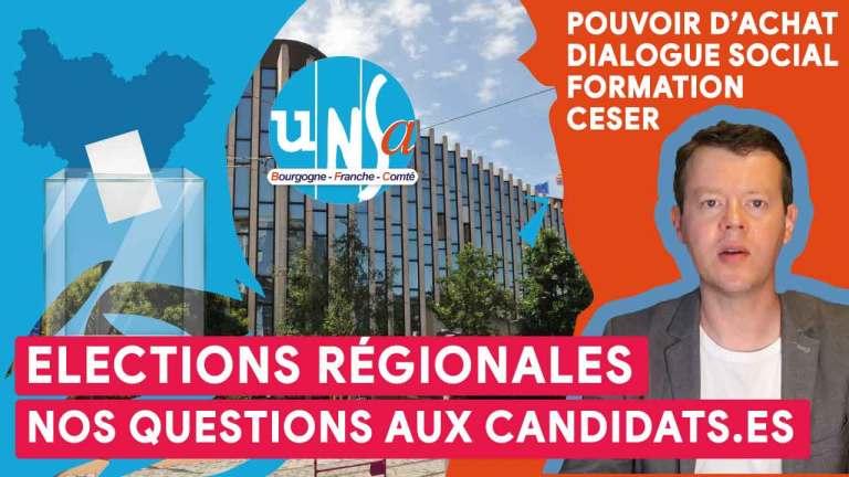 Pouvoir d'achat, dialogue social… L'UNSA s'adresse aux 7 candidats.es aux élections régionales en Bourgogne-Franche-Comté